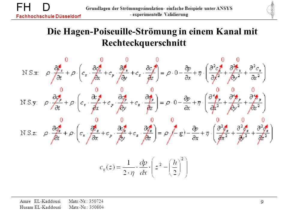 9 Die Hagen-Poiseuille-Strömung in einem Kanal mit Rechteckquerschnitt FH D Fachhochschule Düsseldorf Grundlagen der Strömungssimulation- einfache Bei
