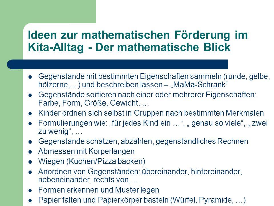 Ideen zur mathematischen Förderung im Kita-Alltag - Der mathematische Blick Gegenstände mit bestimmten Eigenschaften sammeln (runde, gelbe, hölzerne,…