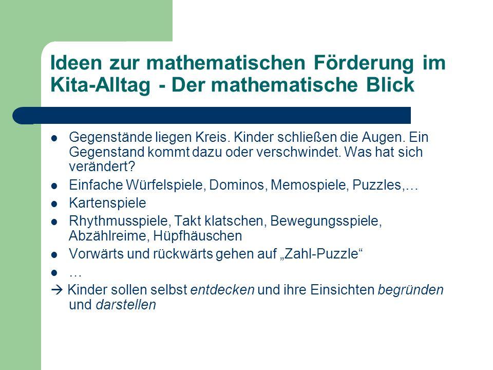 Ideen zur mathematischen Förderung im Kita-Alltag - Der mathematische Blick Gegenstände liegen Kreis. Kinder schließen die Augen. Ein Gegenstand kommt