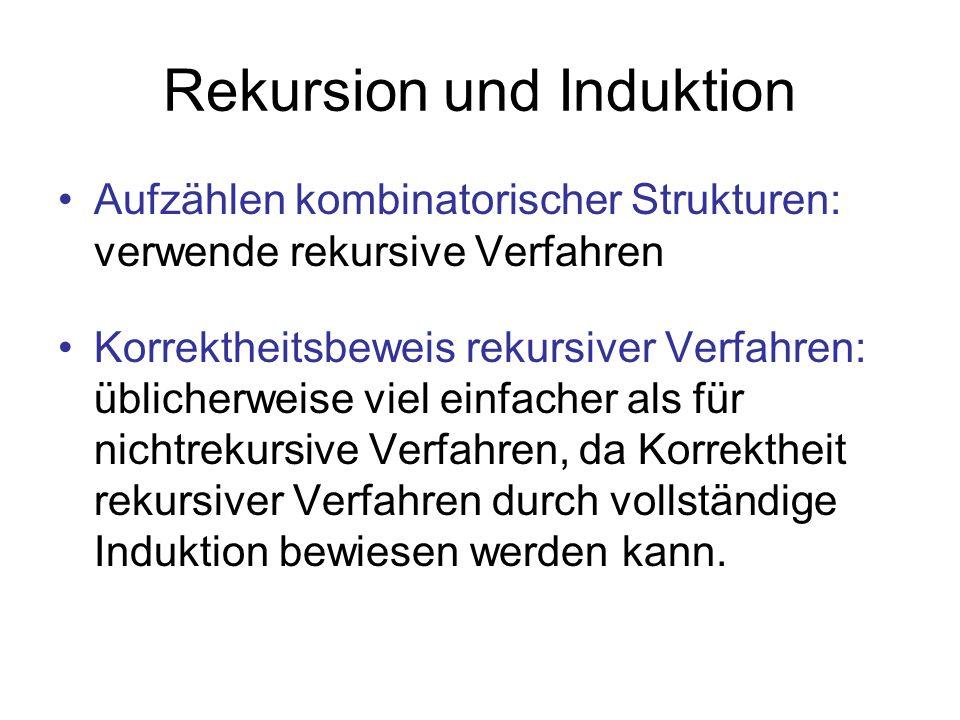 Rekursion und Induktion Aufzählen kombinatorischer Strukturen: verwende rekursive Verfahren Korrektheitsbeweis rekursiver Verfahren: üblicherweise vie