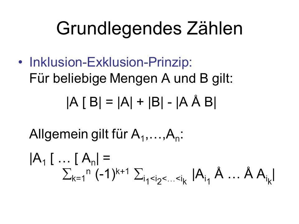 Grundlegendes Zählen Inklusion-Exklusion-Prinzip: Für beliebige Mengen A und B gilt: |A [ B| = |A| + |B| - |A Å B| Allgemein gilt für A 1,…,A n : |A 1