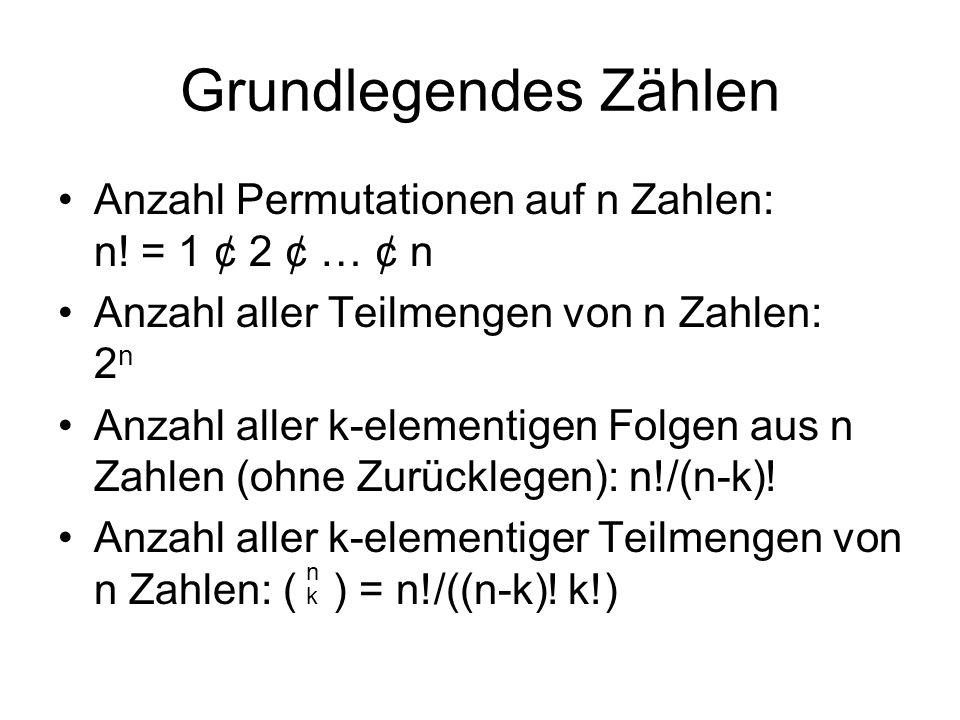 Grundlegendes Zählen Anzahl der k-elementigen Folgen von n Zahlen mit Zurücklegen und Beachtung der Reihenfolge: n k Anzahl der k-elementigen Folgen von n Zahlen mit Zurücklegen ohne Beachtung der Reihenfolge: ( ) n-1+k k