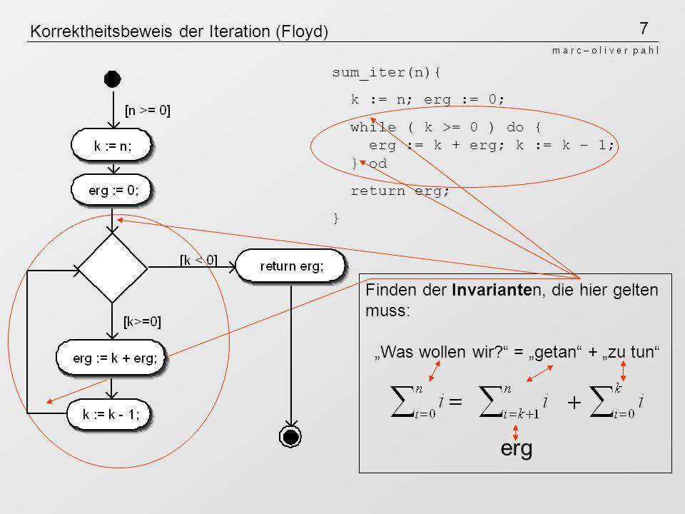 8 m a r c – o l i v e r p a h l Korrektheitsbeweis der Iteration (Floyd) erg Beispiel: Wir suchen sum_iter(3) und haben die Schleife genau einmal durch- laufen: Invariante: (n-k gibt an, wie oft die Schleife schon durchlaufen worden ist)