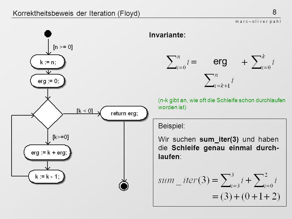 8 m a r c – o l i v e r p a h l Korrektheitsbeweis der Iteration (Floyd) erg Beispiel: Wir suchen sum_iter(3) und haben die Schleife genau einmal durc