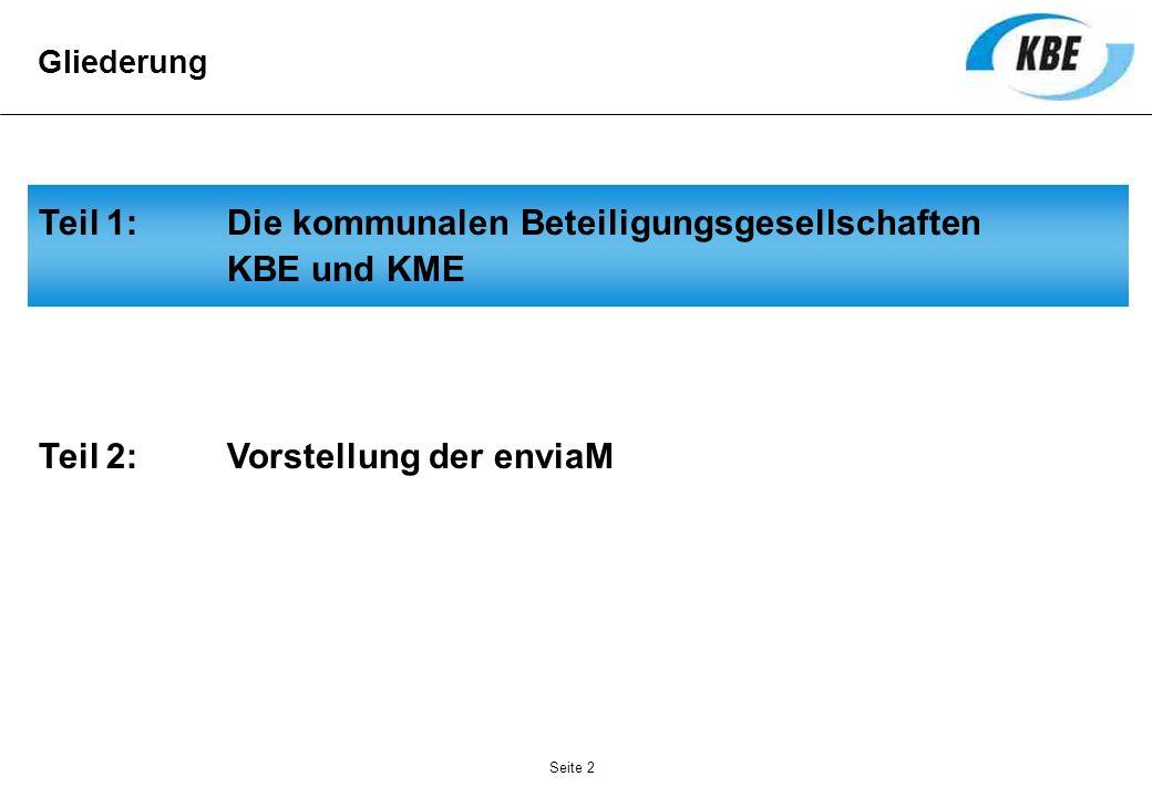 Seite 2 Teil 1: Die kommunalen Beteiligungsgesellschaften KBE und KME Gliederung Teil 2: Vorstellung der enviaM