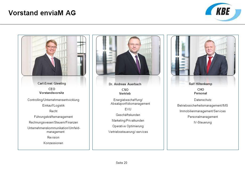 Vorstand enviaM AG Controlling/Unternehmensentwicklung Einkauf/Logistik Recht Führungskräftemanagement Rechnungswesen/Steuern/Finanzen Unternehmenskom