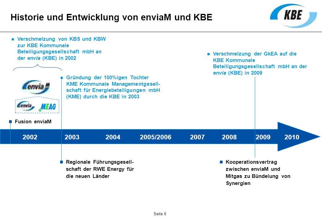 Historie und Entwicklung von enviaM und KBE 2002 Fusion enviaM 2003 Verschmelzung von KBS und KBW zur KBE Kommunale Beteiligungsgesellschaft mbH an de