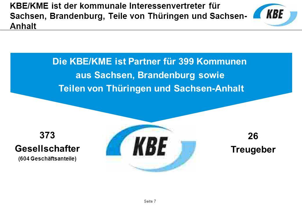 Seite 7 KBE/KME ist der kommunale Interessenvertreter für Sachsen, Brandenburg, Teile von Thüringen und Sachsen- Anhalt 373 Gesellschafter (604 Geschä