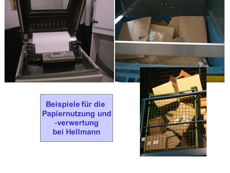 Papiereinkauf: Hellmann kauft bei verschiedenen Lieferanten Papiere unterschied- licher Hersteller ein Papierarten: Drucker- und Kopierpapier = Recycl