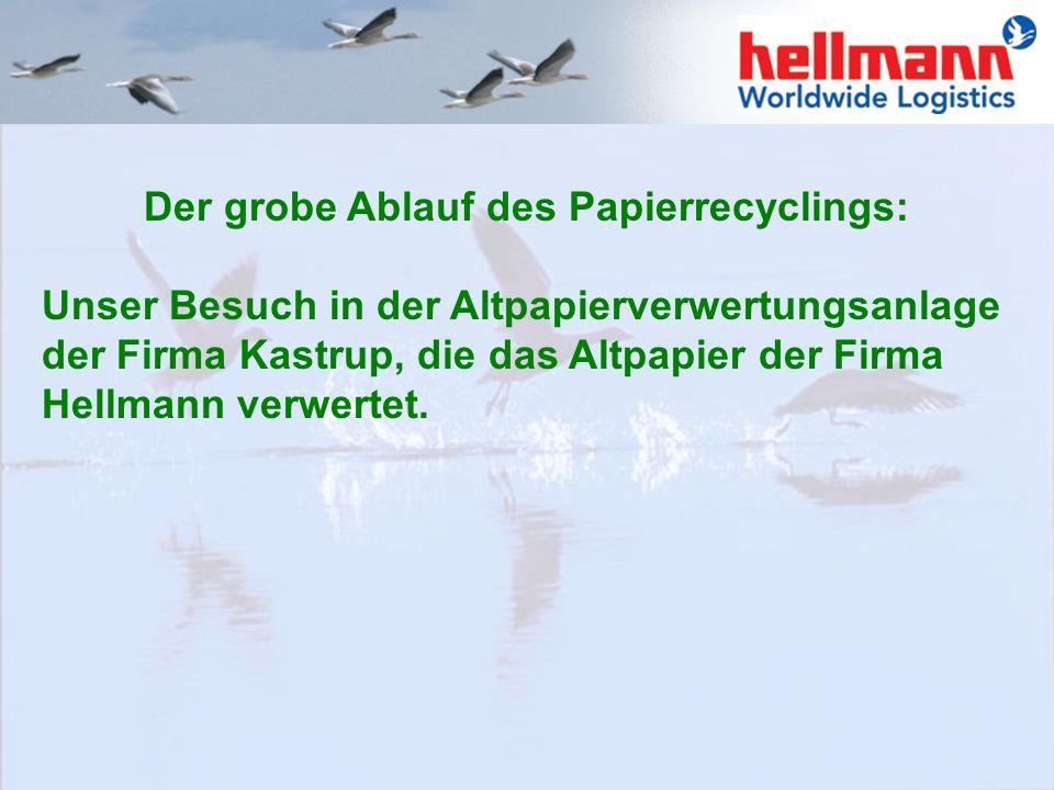 Der grobe Ablauf des Papierrecyclings: Unser Besuch in der Altpapierverwertungsanlage der Firma Kastrup, die das Altpapier der Firma Hellmann verwertet.