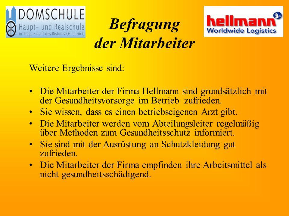 Befragung der Mitarbeiter Weitere Ergebnisse sind: Die Mitarbeiter der Firma Hellmann sind grundsätzlich mit der Gesundheitsvorsorge im Betrieb zufrieden.
