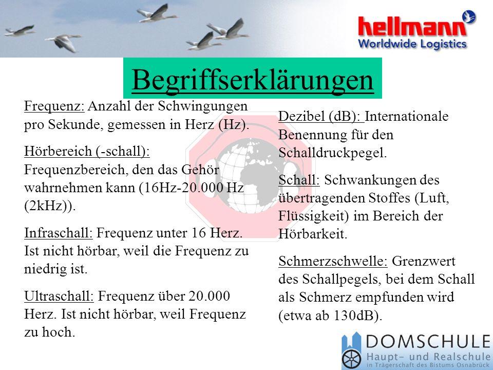 Begriffserklärungen Dezibel (dB): Internationale Benennung für den Schalldruckpegel.