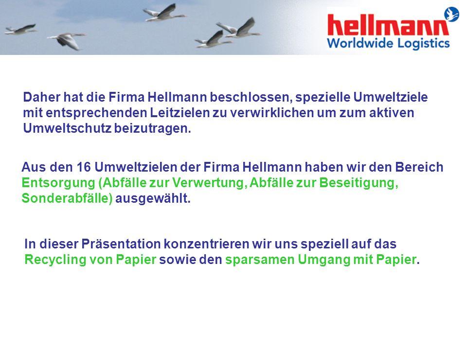 Die Firma Hellmann betreibt aktiven Umweltschutz und verpflichtet sich zur Vermeidung und Verringerung von Umweltbelastungen sowie zur Schonung der na