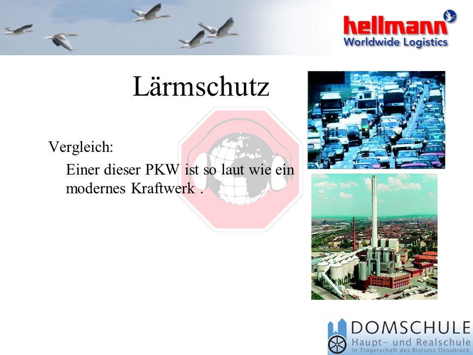 Wir haben im Rahmen unserer Lärmmessungen festgestellt: Die Firma Hellmann überschreitet den Wert von 80 dB(A) in keiner seiner Arbeitsbereiche und so