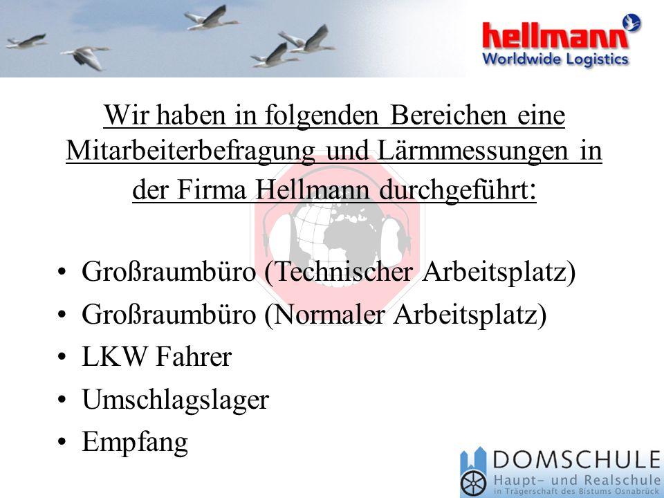 Großraumbüro (Technischer Arbeitsplatz) Großraumbüro (Normaler Arbeitsplatz) LKW Fahrer Umschlagslager Empfang Wir haben in folgenden Bereichen eine Mitarbeiterbefragung und Lärmmessungen in der Firma Hellmann durchgeführt :