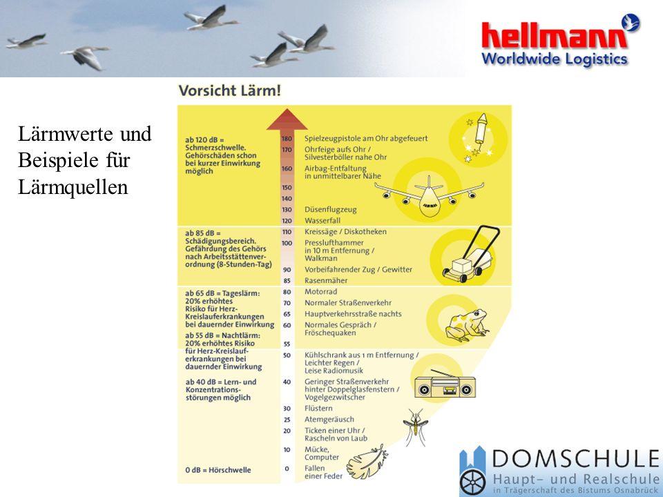 Lärmwerte und Beispiele für Lärmquellen