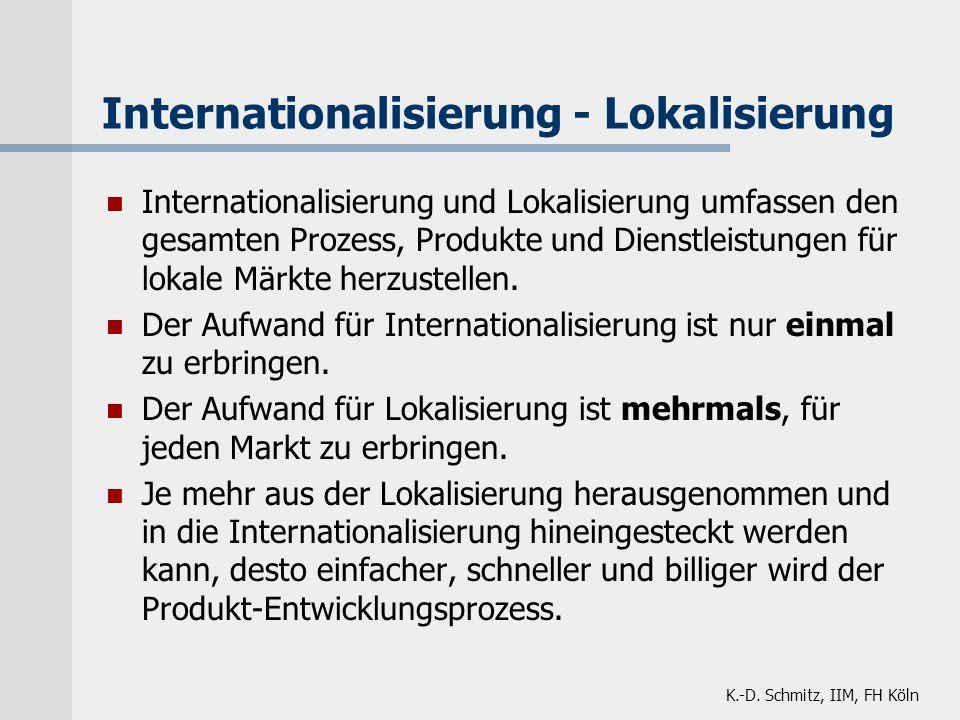 K.-D. Schmitz, IIM, FH Köln Internationalisierung und Lokalisierung umfassen den gesamten Prozess, Produkte und Dienstleistungen für lokale Märkte her