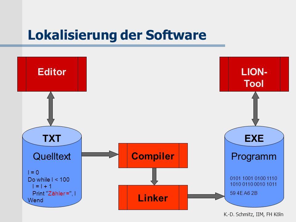 K.-D. Schmitz, IIM, FH Köln Lokalisierung der Software TXT Quelltext I = 0 Do while I < 100 I = I + 1 Print