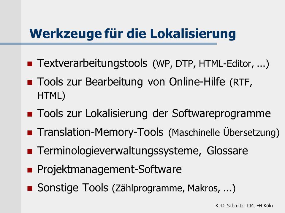 Textverarbeitungstools (WP, DTP, HTML-Editor,...) Tools zur Bearbeitung von Online-Hilfe (RTF, HTML) Tools zur Lokalisierung der Softwareprogramme Tra