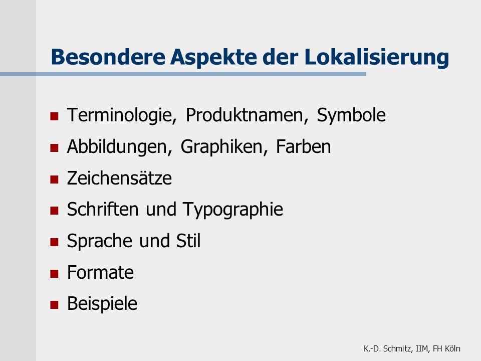 K.-D. Schmitz, IIM, FH Köln Besondere Aspekte der Lokalisierung Terminologie, Produktnamen, Symbole Abbildungen, Graphiken, Farben Zeichensätze Schrif