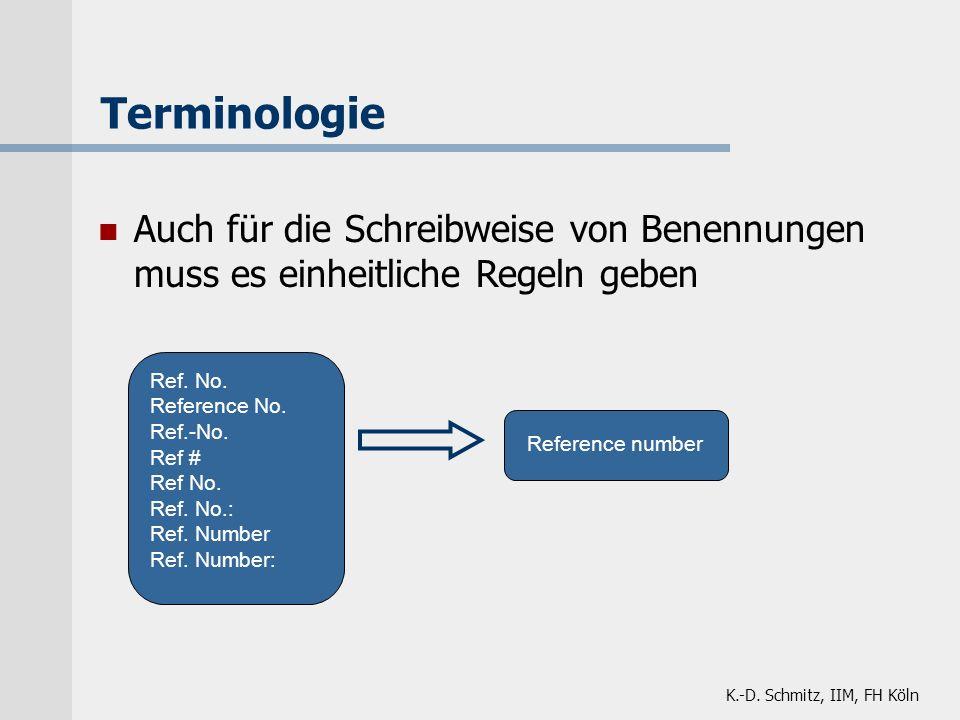 K.-D. Schmitz, IIM, FH Köln Terminologie Auch für die Schreibweise von Benennungen muss es einheitliche Regeln geben Reference number Ref. No. Referen