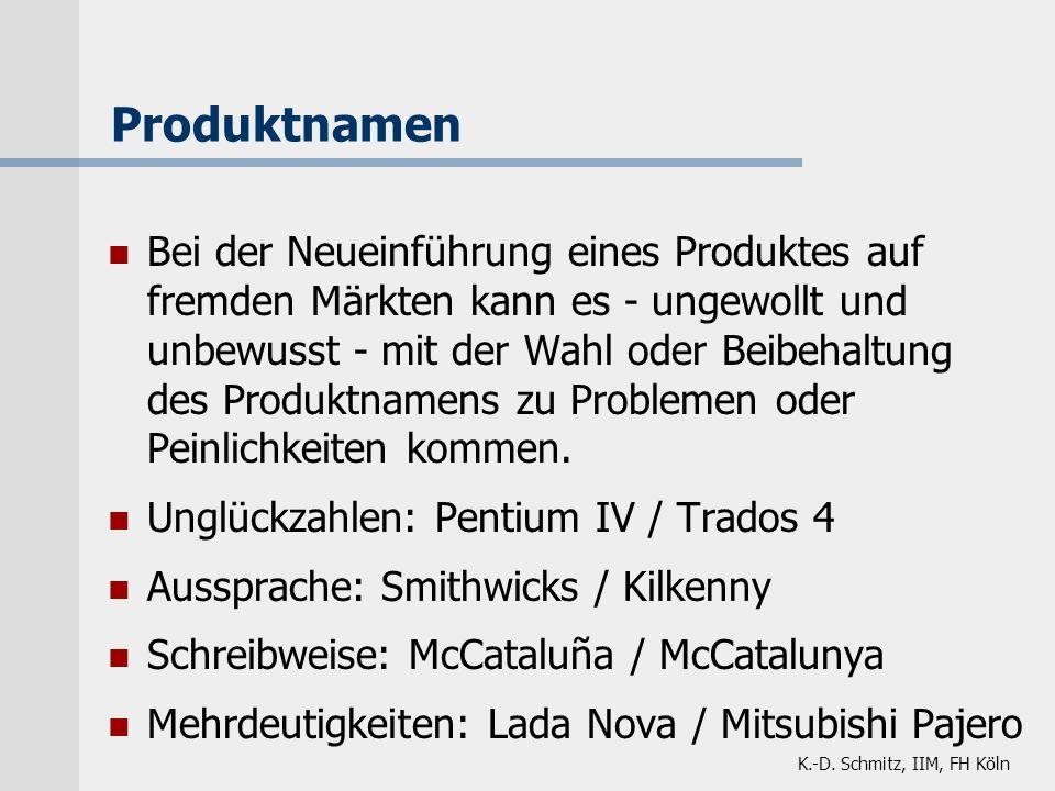 K.-D. Schmitz, IIM, FH Köln Bei der Neueinführung eines Produktes auf fremden Märkten kann es - ungewollt und unbewusst - mit der Wahl oder Beibehaltu