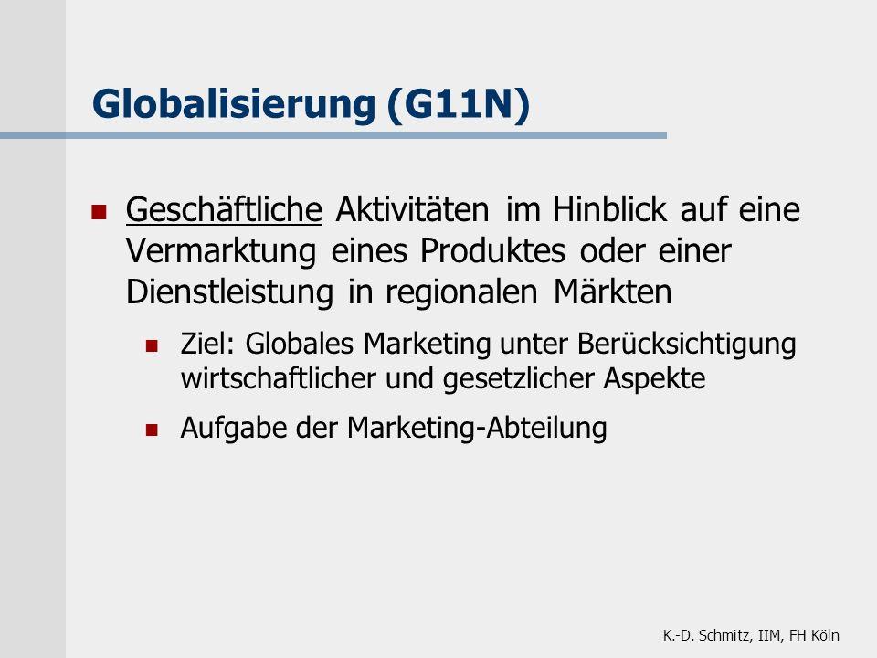 K.-D. Schmitz, IIM, FH Köln Globalisierung (G11N) Geschäftliche Aktivitäten im Hinblick auf eine Vermarktung eines Produktes oder einer Dienstleistung