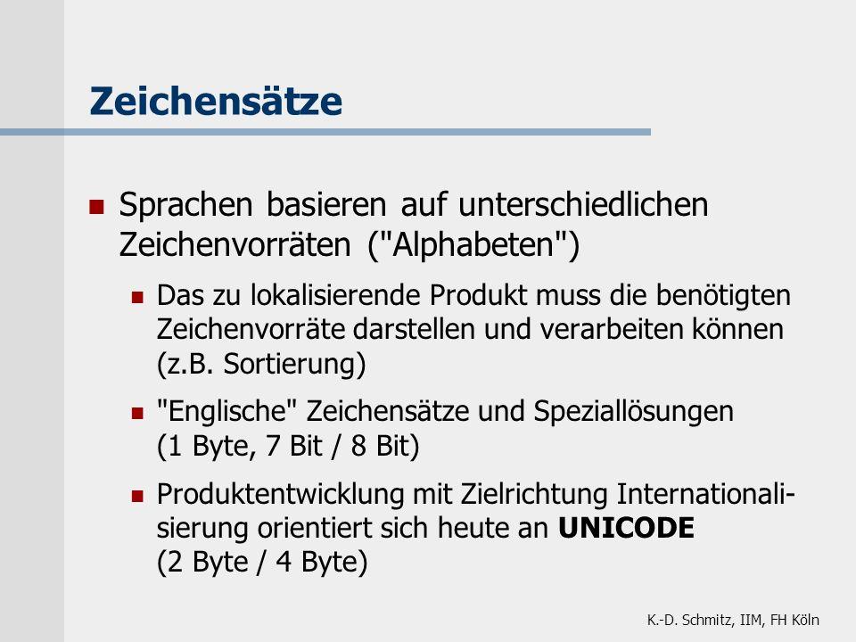 K.-D. Schmitz, IIM, FH Köln Zeichensätze Sprachen basieren auf unterschiedlichen Zeichenvorräten (