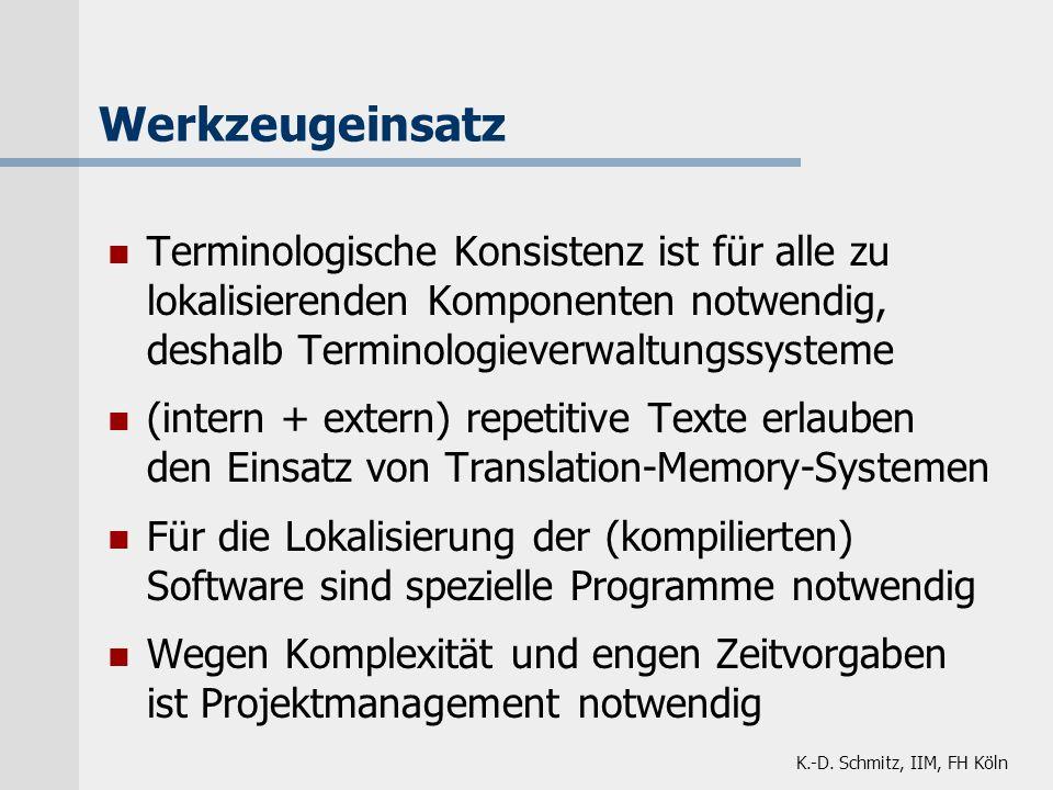 K.-D. Schmitz, IIM, FH Köln Werkzeugeinsatz Terminologische Konsistenz ist für alle zu lokalisierenden Komponenten notwendig, deshalb Terminologieverw