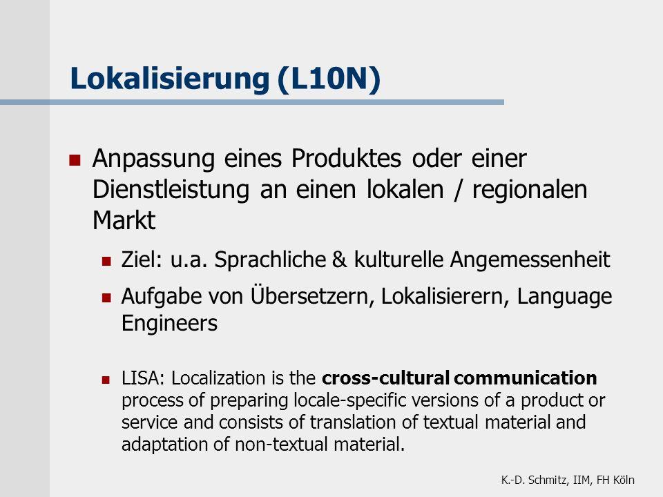 K.-D. Schmitz, IIM, FH Köln Lokalisierung (L10N) Anpassung eines Produktes oder einer Dienstleistung an einen lokalen / regionalen Markt Ziel: u.a. Sp