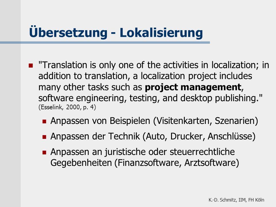 K.-D. Schmitz, IIM, FH Köln Übersetzung - Lokalisierung