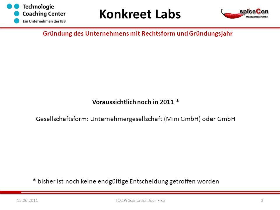 1415.06.2011TCC Präsentation Jour Fixe Erste Ergebnisse / Erkenntnisse des Coachings Konkreet Labs