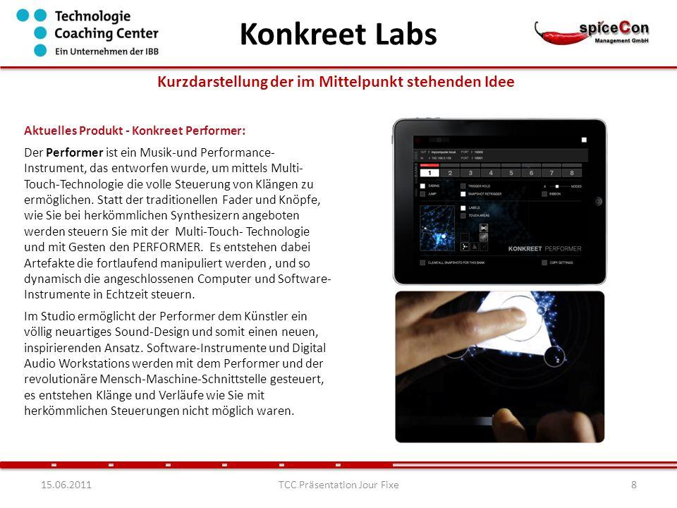 915.06.2011TCC Präsentation Jour Fixe Kurzdarstellung der im Mittelpunkt stehenden Idee Nächstes Produkt - Konkreet Visualizer (in Entwicklung): Wenn die Performance auf dem Konkreet PERFORMER für das Publikum sichtbar gemacht werden soll, dann eignet sich dafür der Konkreet Visualizer.