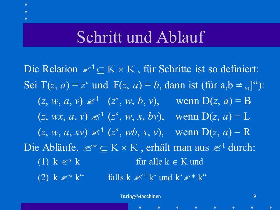 Turing-Maschinen10 Berechnete Funktion Eine Turing-Maschine TM = (A, Z, z 0, R, T, F, D) berechnet folgende Funktion F TM : A* A*: (1) F TM (w) = v, wenn ( z 0, [w, ], ) * (z, [v, ], ) mit z R (2) F TM (w) = undefiniert, sonst