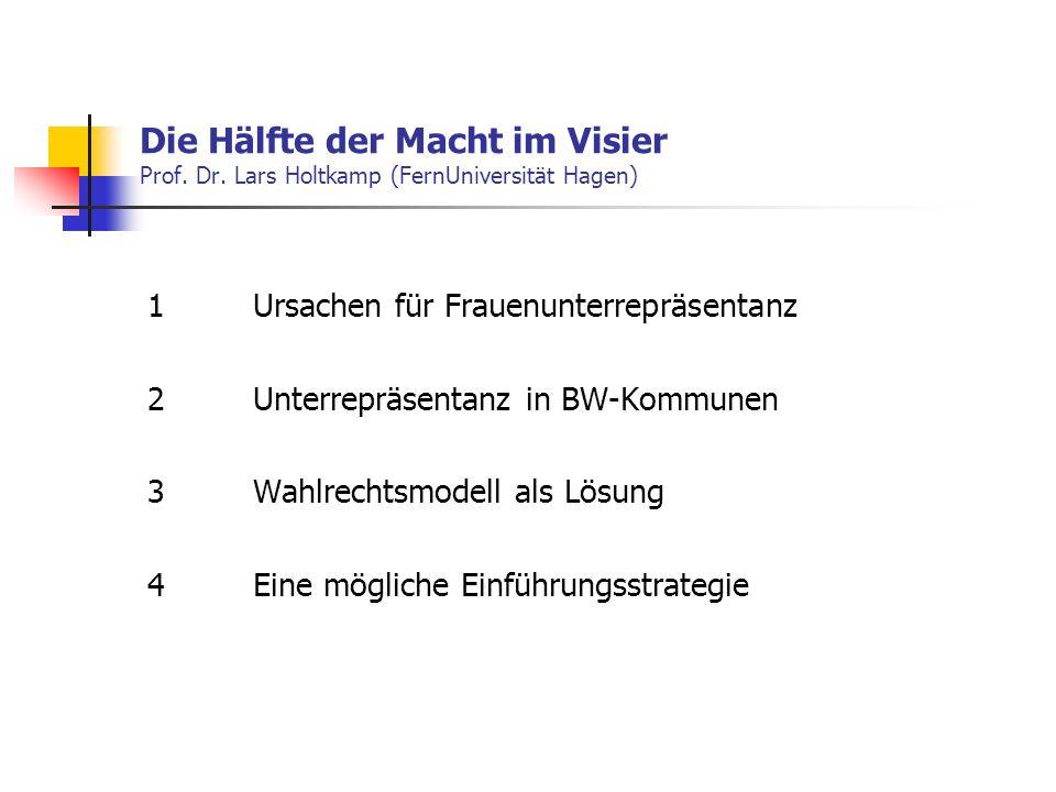 Die Hälfte der Macht im Visier Prof. Dr. Lars Holtkamp (FernUniversität Hagen) 1Ursachen für Frauenunterrepräsentanz 2 Unterrepräsentanz in BW-Kommune