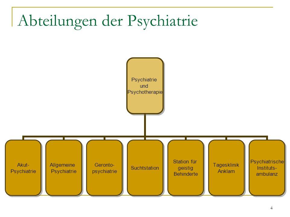 4 Abteilungen der Psychiatrie Psychiatrie und Psychotherapie Akut- Psychiatrie Allgemeine Psychiatrie Geronto- psychiatrie Suchtstation Station für geistig Behinderte Tagesklinik Anklam Psychiatrische Instituts- ambulanz