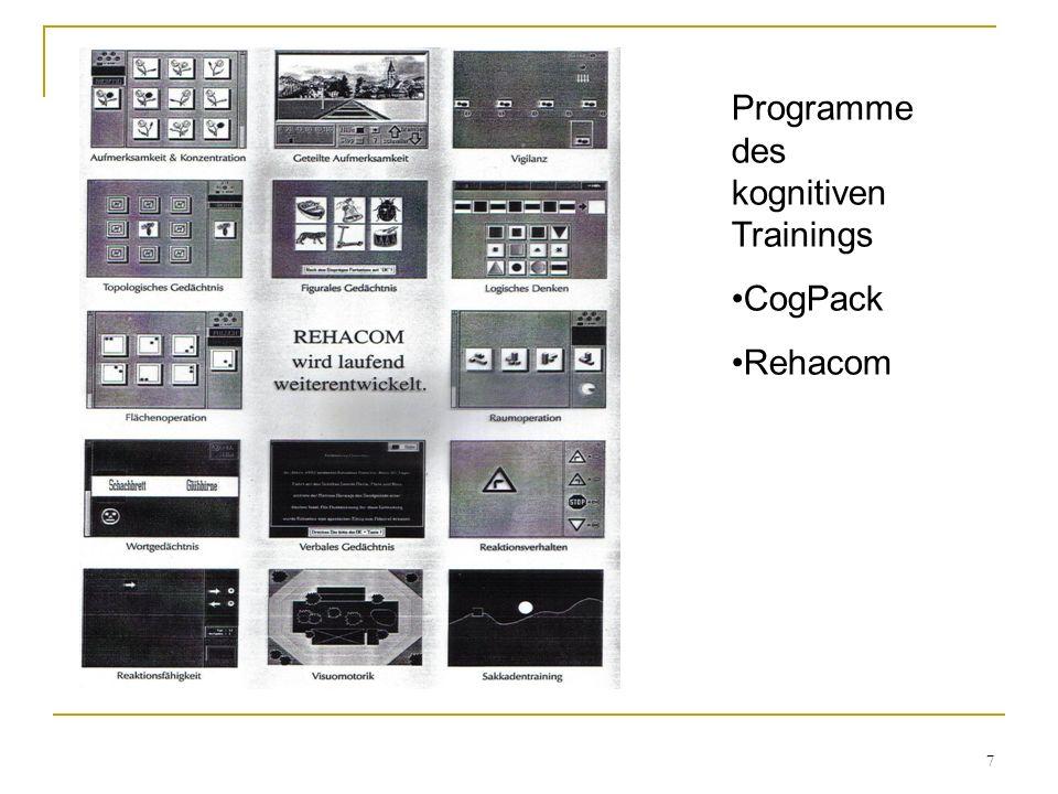 7 Programme des kognitiven Trainings CogPack Rehacom