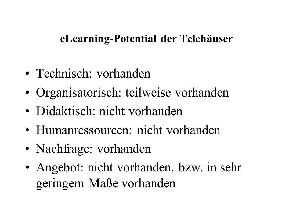 eLearning-Potential der Telehäuser Technisch: vorhanden Organisatorisch: teilweise vorhanden Didaktisch: nicht vorhanden Humanressourcen: nicht vorhanden Nachfrage: vorhanden Angebot: nicht vorhanden, bzw.