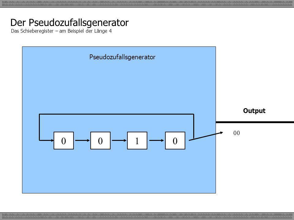Der Pseudozufallsgenerator Das Schieberegister – am Beispiel der Länge 4 Pseudozufallsgenerator 0010 Output