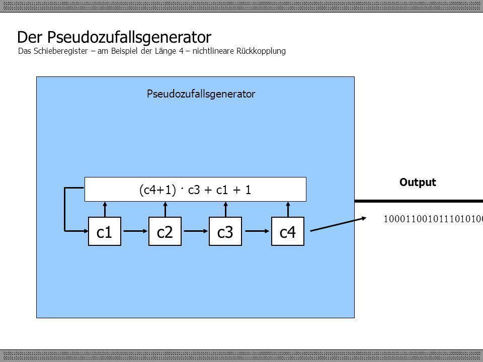Der Pseudozufallsgenerator Das Schieberegister – am Beispiel der Länge 4 – nichtlineare Rückkopplung Pseudozufallsgenerator c1c2c3c4 Output (c4+1) · c