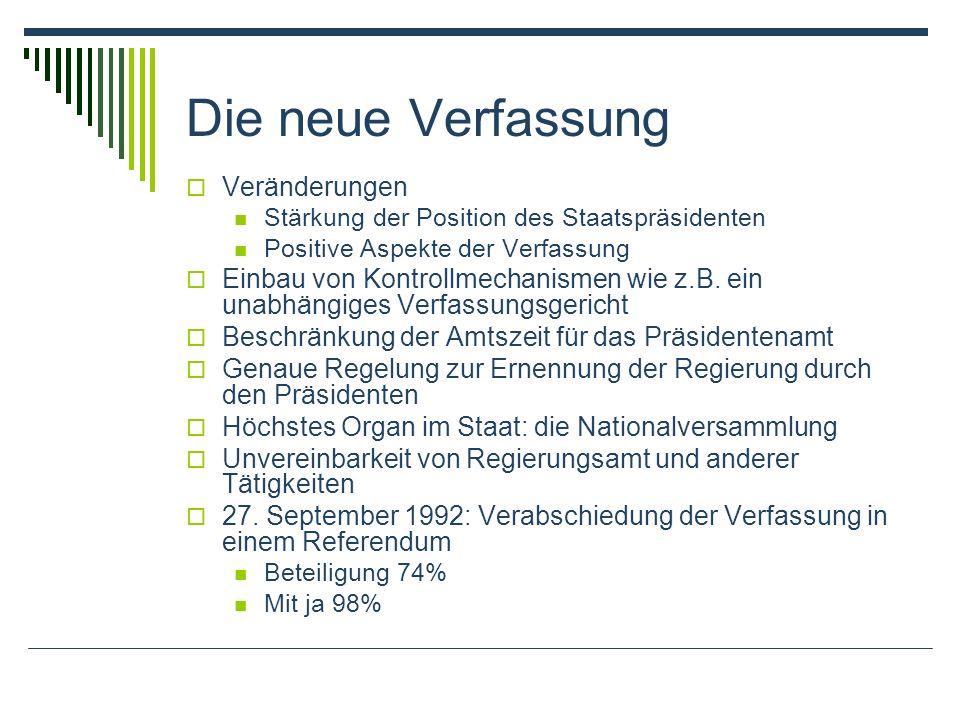 Die neue Verfassung Veränderungen Stärkung der Position des Staatspräsidenten Positive Aspekte der Verfassung Einbau von Kontrollmechanismen wie z.B.