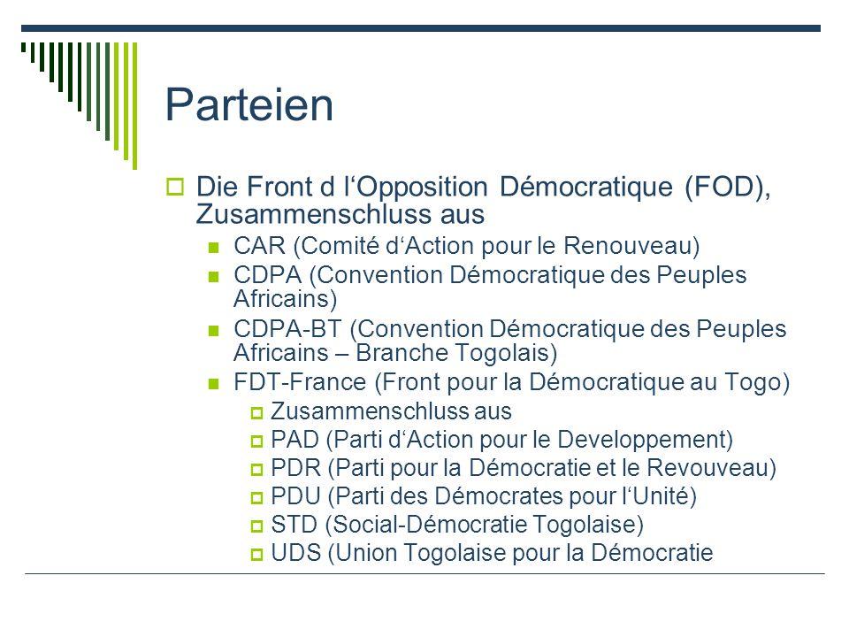 Parteien Die Front d lOpposition Démocratique (FOD), Zusammenschluss aus CAR (Comité dAction pour le Renouveau) CDPA (Convention Démocratique des Peuples Africains) CDPA-BT (Convention Démocratique des Peuples Africains – Branche Togolais) FDT-France (Front pour la Démocratique au Togo) Zusammenschluss aus PAD (Parti dAction pour le Developpement) PDR (Parti pour la Démocratie et le Revouveau) PDU (Parti des Démocrates pour lUnité) STD (Social-Démocratie Togolaise) UDS (Union Togolaise pour la Démocratie