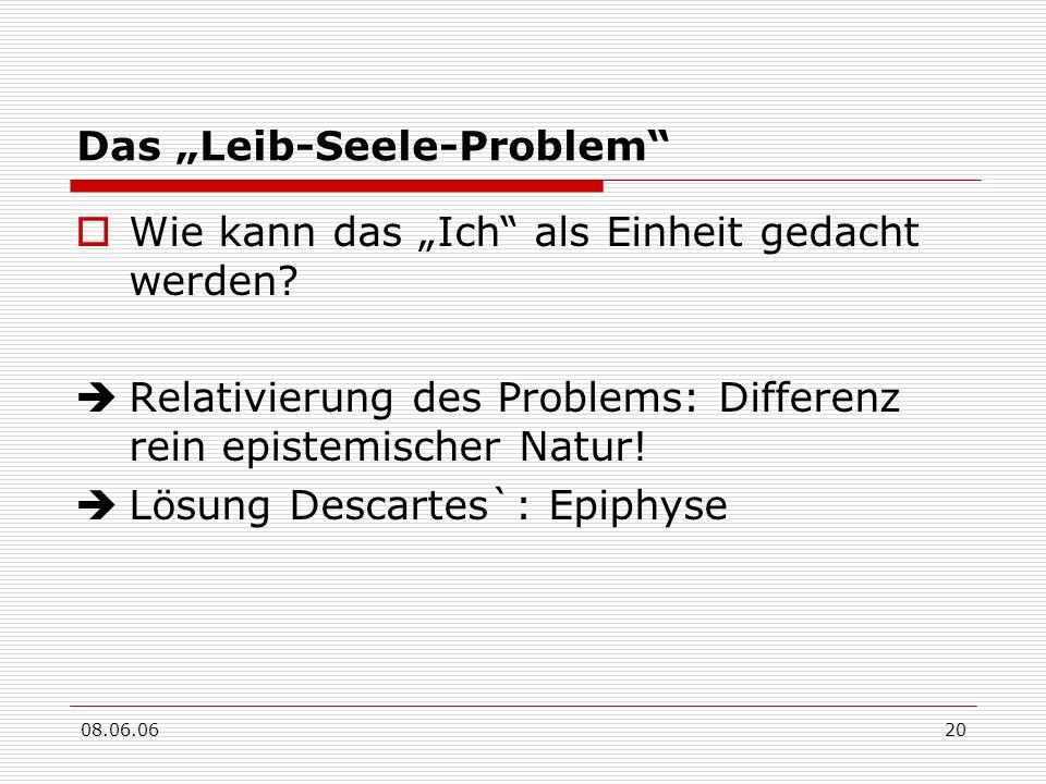 08.06.0620 Das Leib-Seele-Problem Wie kann das Ich als Einheit gedacht werden? Relativierung des Problems: Differenz rein epistemischer Natur! Lösung