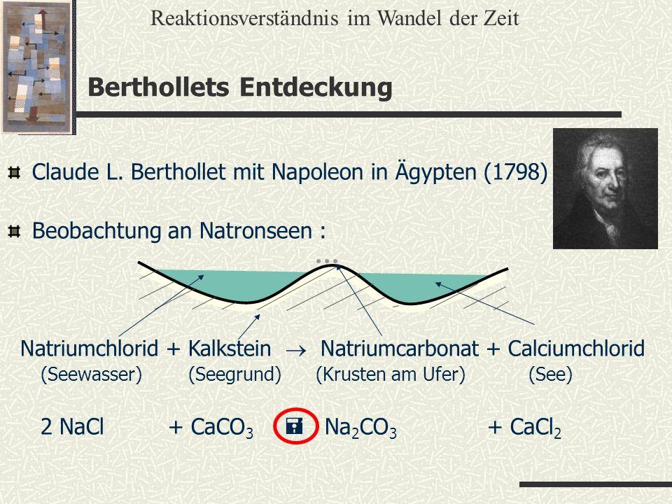 Berthollets Entdeckung Reaktionsverständnis im Wandel der Zeit Claude L. Berthollet mit Napoleon in Ägypten (1798) Beobachtung an Natronseen : Natrium