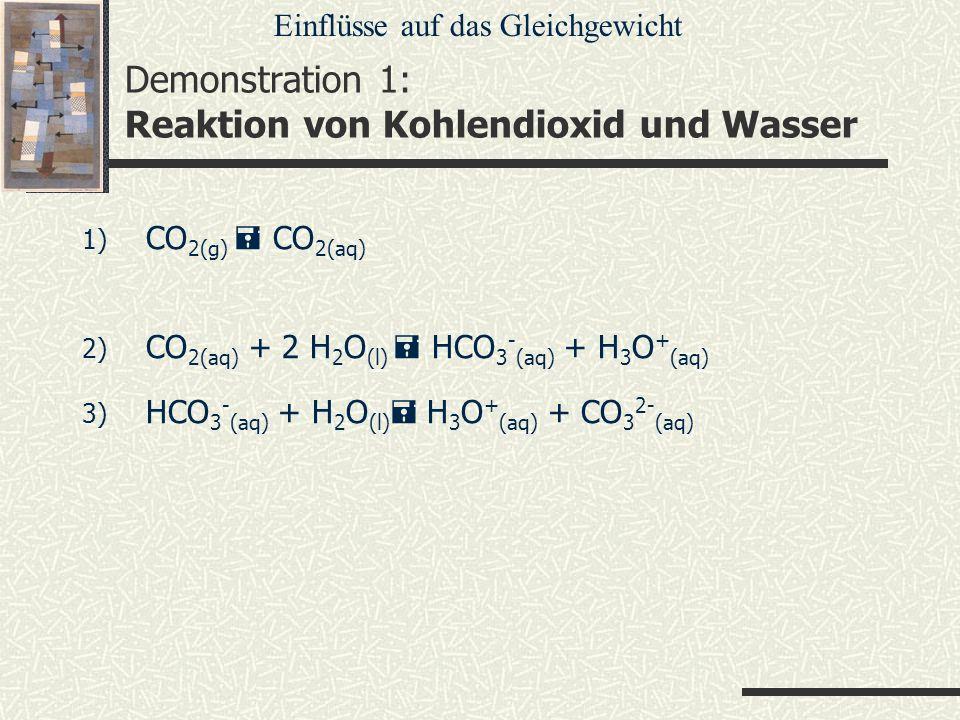 Demonstration 1: Reaktion von Kohlendioxid und Wasser 1) CO 2(g) CO 2(aq) 2) CO 2(aq) + 2 H 2 O (l) HCO 3 - (aq) + H 3 O + (aq) 3) HCO 3 - (aq) + H 2