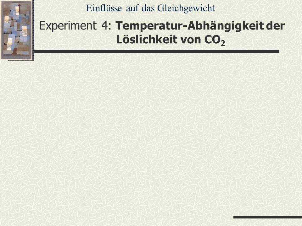 Experiment 4: Temperatur-Abhängigkeit der Löslichkeit von CO 2 Einflüsse auf das Gleichgewicht