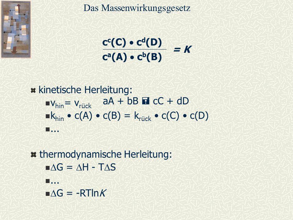 c c (C) c d (D) c a (A) c b (B) = K kinetische Herleitung: v hin = v rück k hin c(A) c(B) = k rück c(C) c(D)... thermodynamische Herleitung: G = H - T