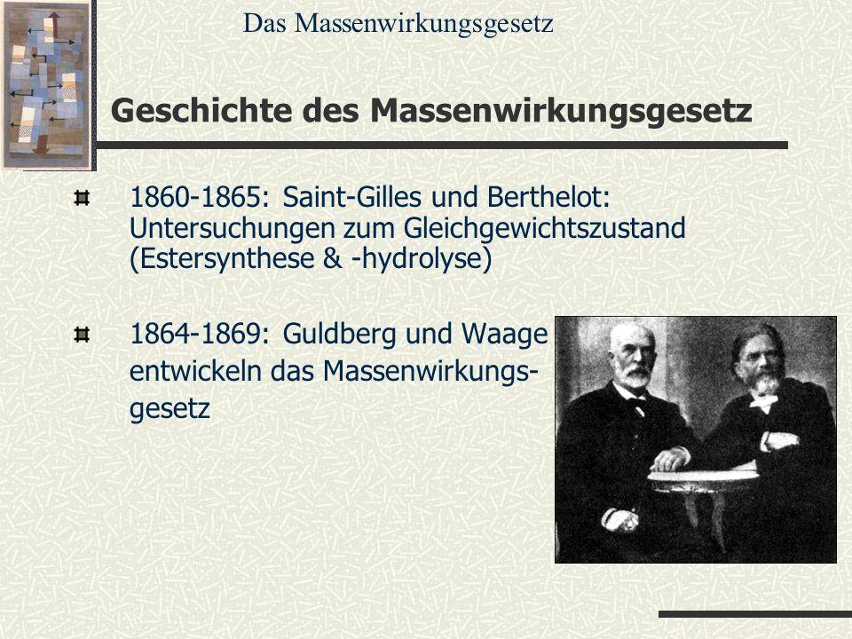 Geschichte des Massenwirkungsgesetz 1860-1865: Saint-Gilles und Berthelot: Untersuchungen zum Gleichgewichtszustand (Estersynthese & -hydrolyse) 1864-