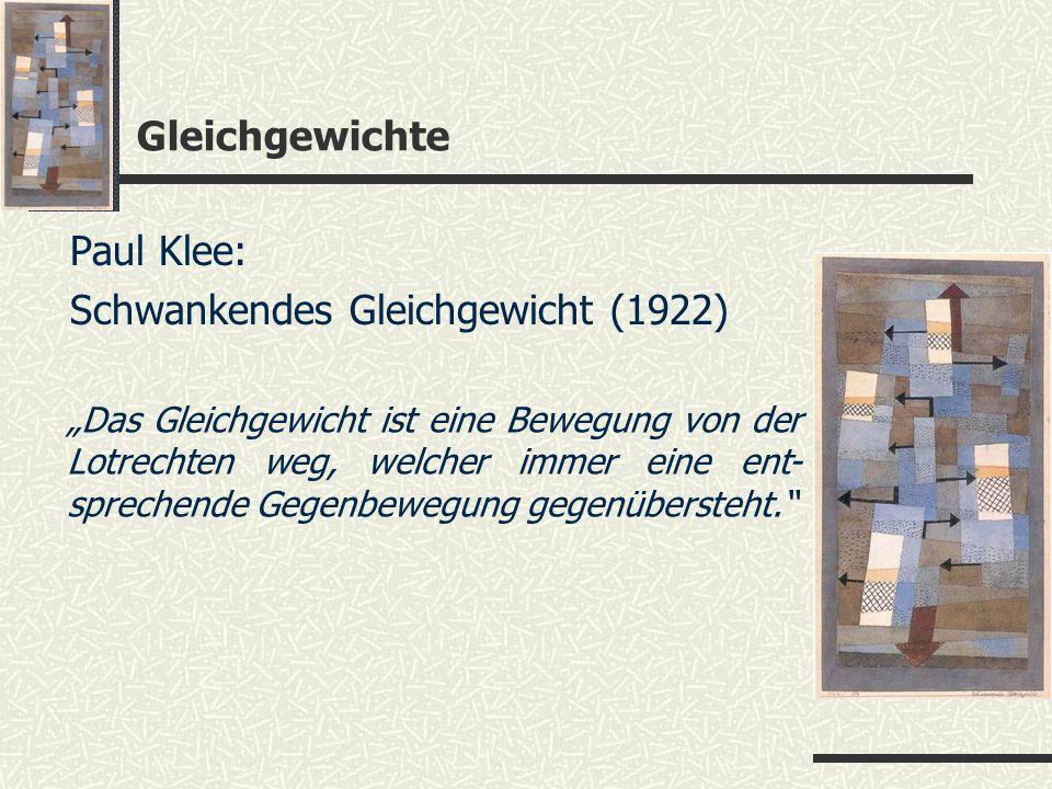 Gleichgewichte Paul Klee: Schwankendes Gleichgewicht (1922) Das Gleichgewicht ist eine Bewegung von der Lotrechten weg, welcher immer eine ent- sprech