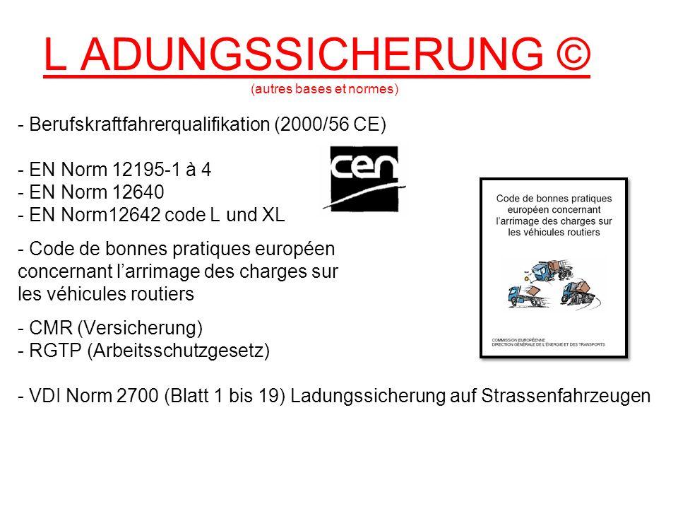 L ADUNGSSICHERUNG © (autres bases et normes) - Berufskraftfahrerqualifikation (2000/56 CE) - EN Norm 12195-1 à 4 - EN Norm 12640 - EN Norm12642 code L